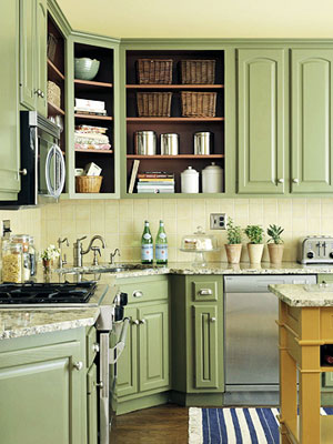 Colored Kitchen Cabinets low cost cabinet makeover ideas