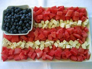 Flag tray of fruit