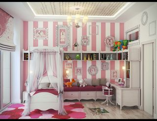 Pink-white-stripe-wall-girls-bedroom-cute-girls-rooms